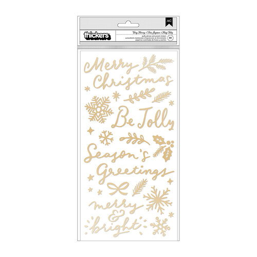 Crate Paper - Hey Santa Collection - Thickers - Phrase and Accent - Puffy Gold Foil - Very Merry