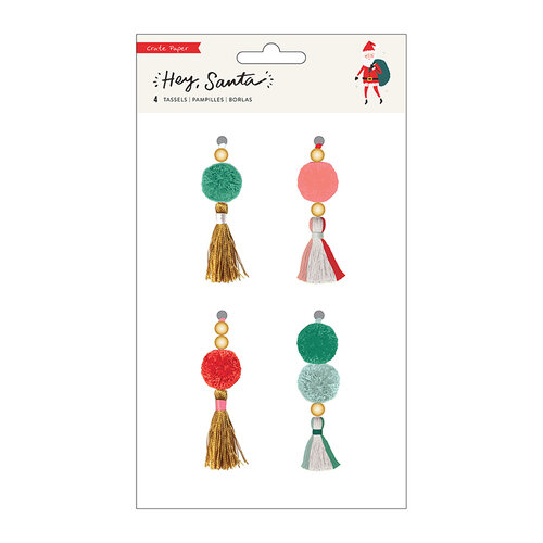 Crate Paper - Hey Santa Collection - Beaded Tassels