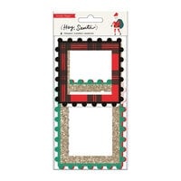 Crate Paper - Hey Santa Collection - Pom Pom Frames with Gold Glitter Accents