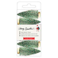 Crate Paper - Hey Santa Collection - Wire Brush Trees - Green with Gold Glitter Accents