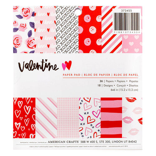 American Crafts - Valentines Collection - 6 x 6 Paper Pad - Valentine