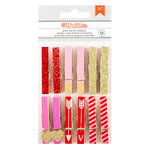 American Crafts - Valentines Collection - Clothespins with Foil and Glitter Accents