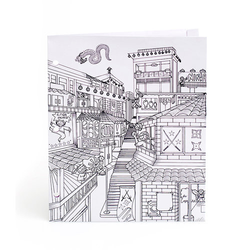 American Crafts - Hall Pass Collection - Adult Coloring - Folder - Ninja