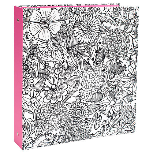 American Crafts - Hall Pass Collection - Adult Coloring - 3-Ring Binder - Floral