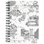 American Crafts - Hall Pass Collection - Adult Coloring - Spiral Notebook - 6 x 8.25 - Kitty Karaoke