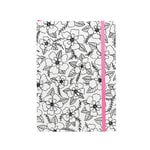 American Crafts - Hall Pass Collection - Adult Coloring - Elastic Notebook - 5 x 7 - Floral
