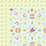 American Crafts - Dear Lizzy Collection - Happy Place - 12 x 12 Double Sided Paper - Tropical Tango