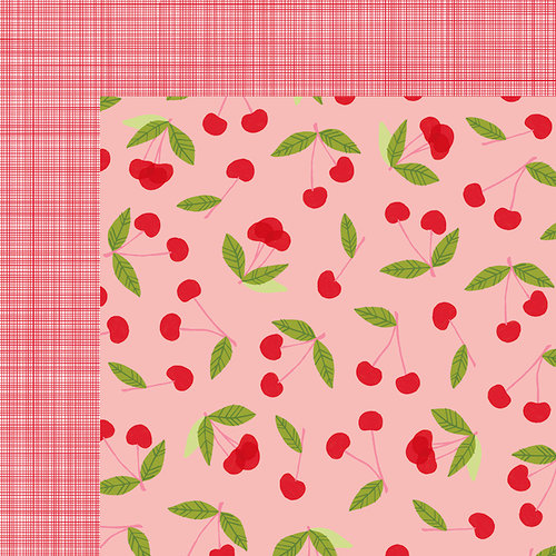 American Crafts - Happy Place Collection - 12 x 12 Double Sided Paper - Cheery Cherry