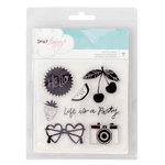 American Crafts - Dear Lizzy Collection - Happy Place - Clear Acrylic Stamps