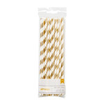 American Crafts - Metallic Straws - Stripe - Gold