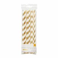 American Crafts - Metallic Straws - Stripe - Gold