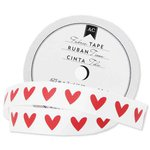 American Crafts - Fabric Tape - Red Heart - 0.625 Inches