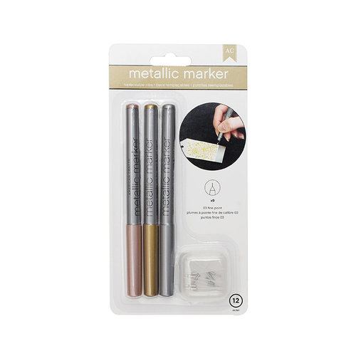 American Crafts - Metallic Markers - 03 Fine Point - Rose Gold, Gold, Silver
