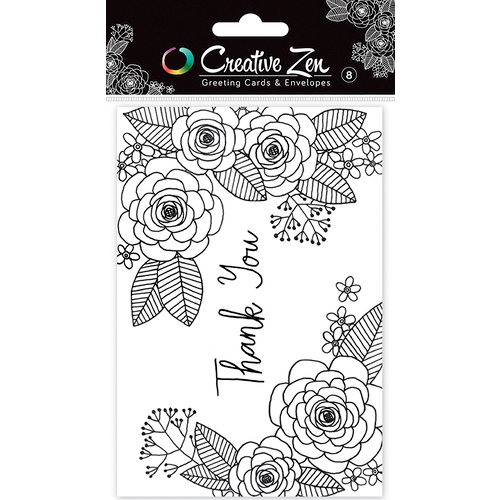American Crafts Creative Zen Floral 2 Thank You Coloring Cards