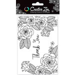 American Crafts - Creative Zen Collection - Adult Coloring - Coloring Cards - Floral 2 - Thank You
