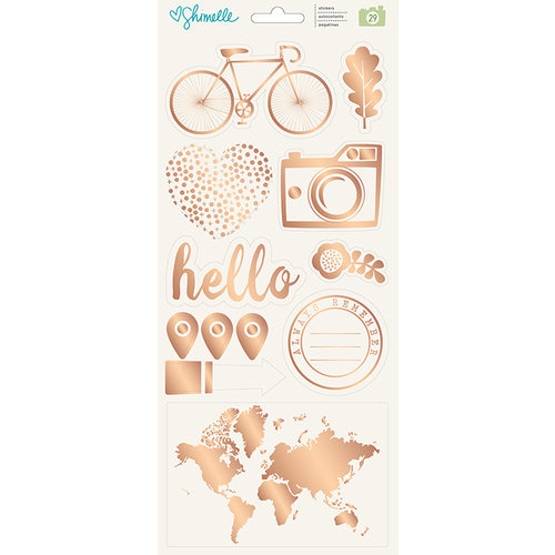 American Crafts - Go Now Go Collection - Cardstock Stickers with Foil Accents - Accents and Phrases