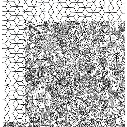 American Crafts - Adult Coloring Collection - 12 x 12 Double Sided Paper - Floral