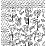 American Crafts - Adult Coloring Collection - 12 x 12 Double Sided Paper - Floral Lines