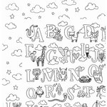 American Crafts - Adult Coloring Collection - 12 x 12 Double Sided Paper - Cute Alphabet