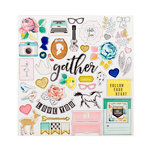 Crate Paper - Gather Collection - 12 x 12 Chipboard Stickers with Glitter Accents