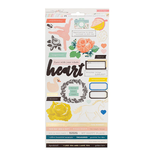 Crate Paper - Gather Collection - Cardstock Stickers - Icons with Foil Accents