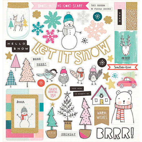 Crate Paper - Snow and Cocoa Collection - 12 x 12 Chipboard Stickers with Glitter Accents