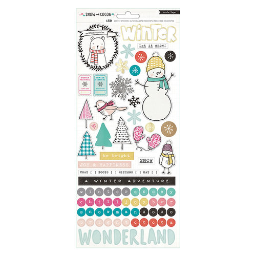 Crate Paper - Snow and Cocoa Collection - Cardstock Stickers with Foil Accents