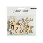 Crate Paper - Snow and Cocoa Collection - Die Cut Wood Pieces with Glitter Accents - Phrases