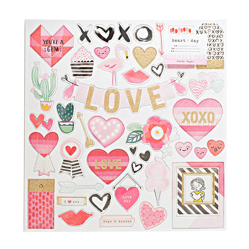 Crate Paper - Heart Day Collection - Chipboard Stickers with Glitter Accents
