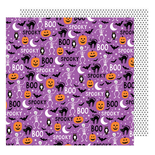 American Crafts - Halloween Collection - 12 x 12 Double Sided Paper - Scaredy Cat
