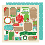 American Crafts - All Wrapped Up Collection - Christmas - 12 x 12 Double Sided Paper - Tags