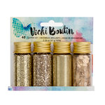 American Crafts - Mixed Media Collection - Mixology - Mica Flakes, Glitter, Glass Glitter and Embossing Powder - Gold