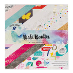 American Crafts - Vicki Boutin - Mixed Media - 12 x 12 Paper Pad with Foil Accents