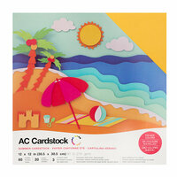 American Crafts - 12 x 12 Cardstock Pack - 60 Sheets - Summer