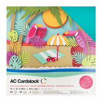 American Crafts - 12 x 12 Cardstock Pack - 60 Sheets - Tropical