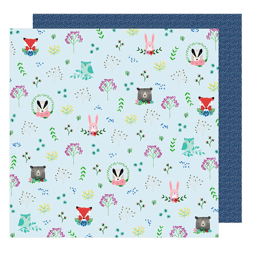 American Crafts - Little By Little Collection - 12 x 12 Double Sided Paper - Forest Friends