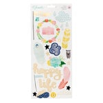 American Crafts - Little By Little Collection - Cardstock Stickers with Foil Accents