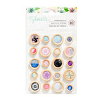 American Crafts - Little By Little Collection - Wooden Buttons Stickers