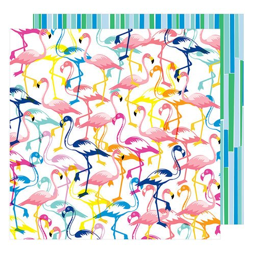 American Crafts - On A Whim Collection - 12 x 12 Double Sided Paper - Let's Flamingle