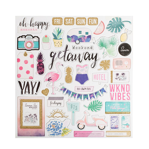 Crate Paper - Oasis Collection - 12 x 12 Chipboard Stickers with Glitter Accents