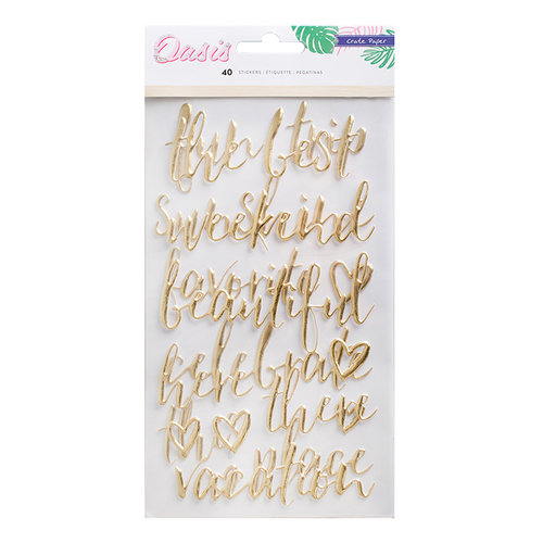 Crate Paper - Oasis Collection - Puffy Stickers with Foil Accents - Phrases