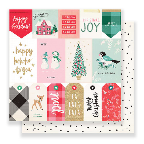 Crate Paper - Falala Collection - Christmas - 12 x 12 Double Sided Paper - Greetings