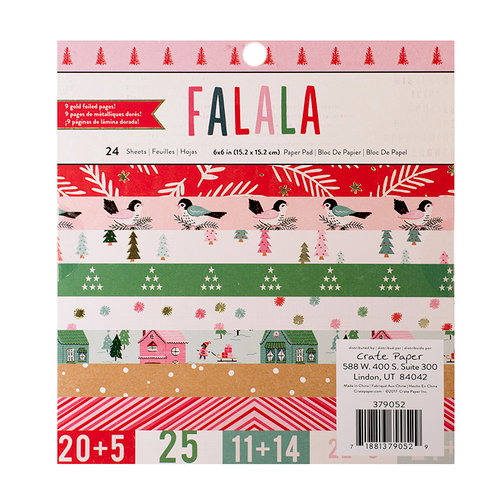 Crate Paper - Falala Collection - Christmas - 6 x 6 Paper Pad with Glitter Accents