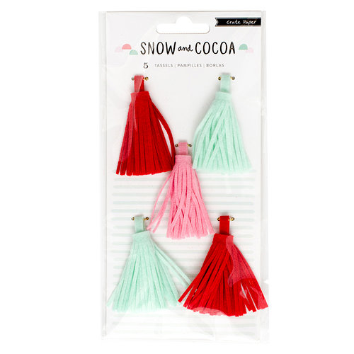 Crate Paper - Snow and Cocoa Collection - Felt Tassels
