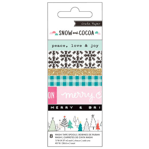 Crate Paper - Snow and Cocoa Collection - Washi Tape with Glitter Accents