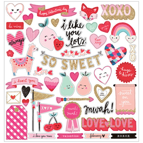 Crate Paper - Main Squeeze Collection - 12 x 12 Chipboard Stickers with Glitter Accents