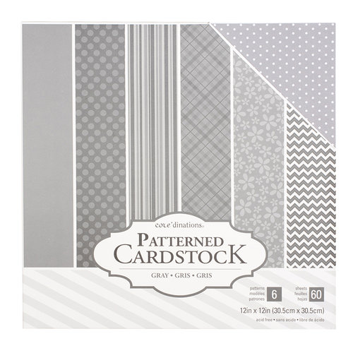 Core'dinations - 12 x 12 Patterned Cardstock - Grey - 60 Sheets