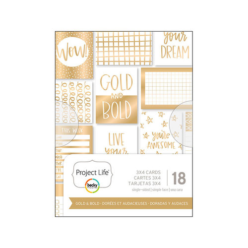 Becky Higgins - Project Life - Gold and Bold Collection - 3 x 4 Card Pad with Foil Accents
