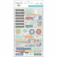 Becky Higgins - Project Life - Sharp Edition Collection - Chipboard Stickers with Foil Accents