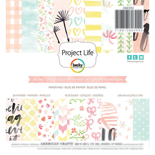 Becky Higgins - Project Life - Inspire Edition Collection - 6 x 6 Paper Pad